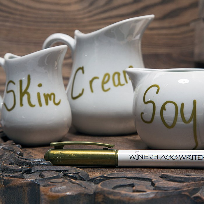 Labeling Creamer Ceramics Wine Glass Writer